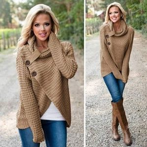 NWT Tan Buttoned Sweater